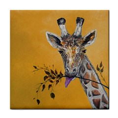 Giraffe Treat Ceramic Tile