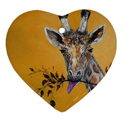 Giraffe Treat Heart Ornament (Two Sides) by rokinronda