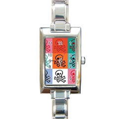Skull Rectangular Italian Charm Watch by Siebenhuehner