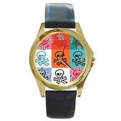 Skull Round Leather Watch (gold Rim)  by Siebenhuehner
