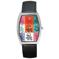 Skull Tonneau Leather Watch by Siebenhuehner