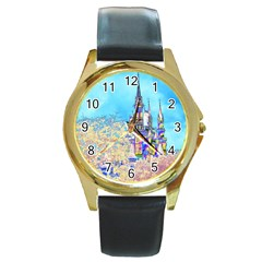 Castle For A Princess Round Leather Watch (gold Rim)  by rokinronda