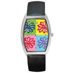 Flower Tonneau Leather Watch by Siebenhuehner