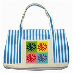 Flower Blue Striped Tote Bag