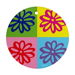 Flower Round Ornament (two Sides) by Siebenhuehner