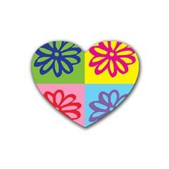 Flower Drink Coasters (heart) by Siebenhuehner