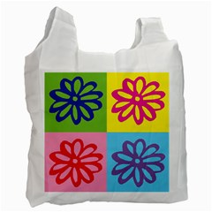 Flower White Reusable Bag (one Side) by Siebenhuehner