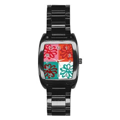 Flower Stainless Steel Barrel Watch by Siebenhuehner