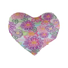 Spring Watercolor Flowers 16  Premium Heart Shape Cushion  by NaturesSol