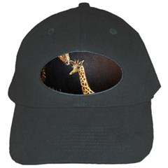 Baby Giraffe And Mom Under The Moon Black Baseball Cap by rokinronda