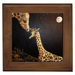 Baby Giraffe And Mom Under The Moon Framed Ceramic Tile by rokinronda