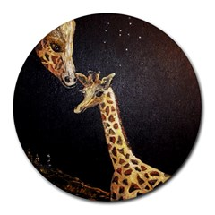 Baby Giraffe And Mom Under The Moon 8  Mouse Pad (round) by rokinronda