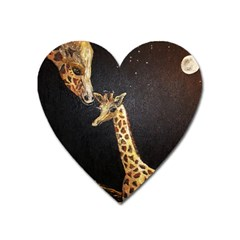Baby Giraffe And Mom Under The Moon Magnet (heart) by rokinronda