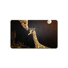 Baby Giraffe And Mom Under The Moon Magnet (name Card) by rokinronda