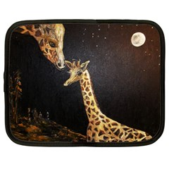 Baby Giraffe And Mom Under The Moon Netbook Sleeve (xxl) by rokinronda