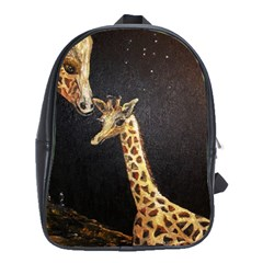 Baby Giraffe And Mom Under The Moon School Bag (large) by rokinronda