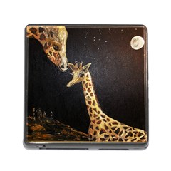 Baby Giraffe And Mom Under The Moon Memory Card Reader With Storage (square) by rokinronda