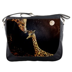 Baby Giraffe And Mom Under The Moon Messenger Bag by rokinronda