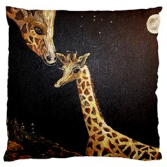 Baby Giraffe And Mom Under The Moon Large Cushion Case (single Sided)  by rokinronda
