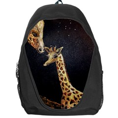 Baby Giraffe And Mom Under The Moon Backpack Bag by rokinronda