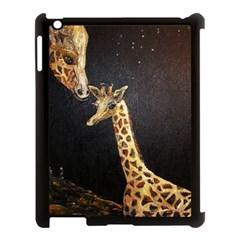 Baby Giraffe And Mom Under The Moon Apple Ipad 3/4 Case (black)
