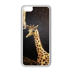 Baby Giraffe And Mom Under The Moon Apple Iphone 5c Seamless Case (white) by rokinronda