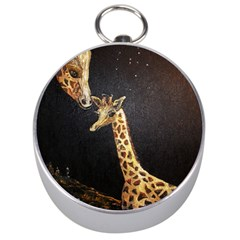 Baby Giraffe And Mom Under The Moon Silver Compass by rokinronda