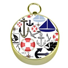 Nautical Collage Gold Compass by StuffOrSomething