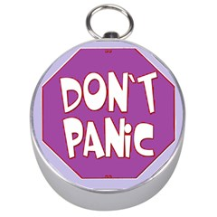 Purple Don t Panic Sign Silver Compass by FunWithFibro