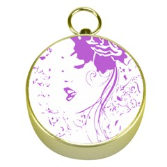 Purple Woman Of Chronic Pain Gold Compass by FunWithFibro