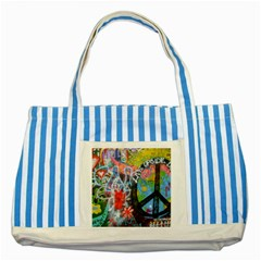 Prague Graffiti Blue Striped Tote Bag by StuffOrSomething