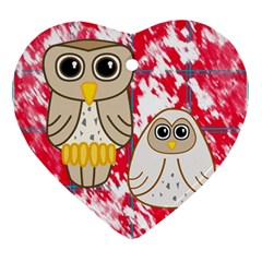 Two Owls Heart Ornament