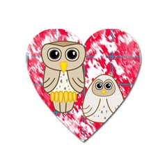 Two Owls Magnet (heart) by uniquedesignsbycassie