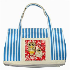 Two Owls Blue Striped Tote Bag by uniquedesignsbycassie
