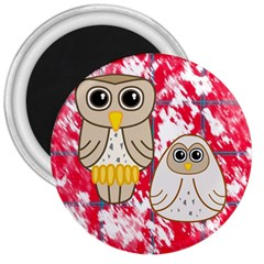 Two Owls 3  Button Magnet by uniquedesignsbycassie