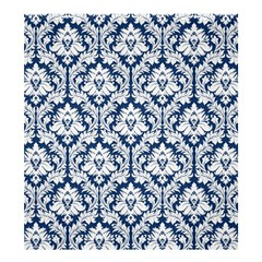 Damask Pattern White Dark Blue Shower Curtain 66  X 72  (large) by Zandiepants