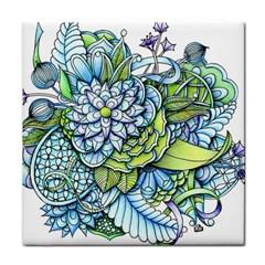 Peaceful Flower Garden Ceramic Tile by Zandiepants