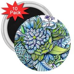 Peaceful Flower Garden 3  Button Magnet (10 Pack) by Zandiepants