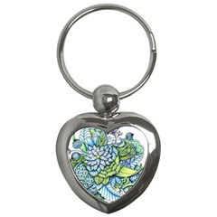 Peaceful Flower Garden Key Chain (heart) by Zandiepants