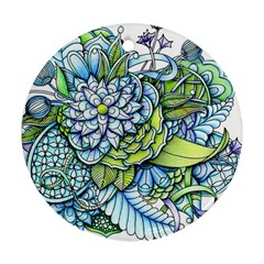 Peaceful Flower Garden Round Ornament (two Sides) by Zandiepants