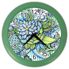 Peaceful Flower Garden Wall Clock (color) by Zandiepants