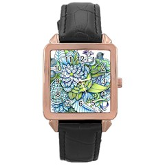 Peaceful Flower Garden Rose Gold Leather Watch  by Zandiepants