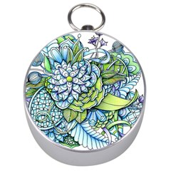 Peaceful Flower Garden Silver Compass by Zandiepants