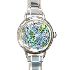 Peaceful Flower Garden 2 Round Italian Charm Watch by Zandiepants