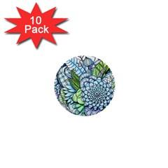 Peaceful Flower Garden 2 1  Mini Button (10 Pack) by Zandiepants