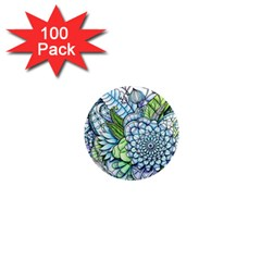 Peaceful Flower Garden 2 1  Mini Button Magnet (100 Pack) by Zandiepants