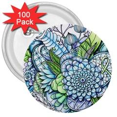 Peaceful Flower Garden 2 3  Button (100 Pack) by Zandiepants