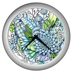 Peaceful Flower Garden 2 Wall Clock (Silver) Front
