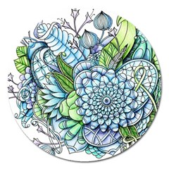 Peaceful Flower Garden 2 Magnet 5  (round) by Zandiepants