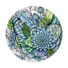 Peaceful Flower Garden 2 Round Ornament (two Sides) by Zandiepants